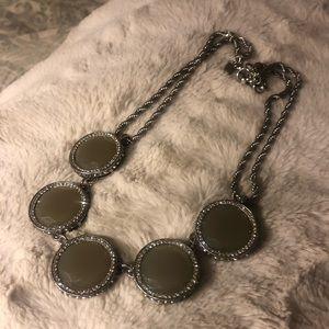 Banana Republic Gray Stone and Crystal Necklace